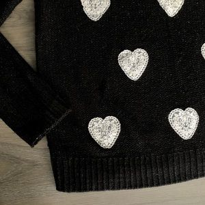 LC Lauren Conrad Sweaters - Lauren Conrad • Black Knit Lace Heart Sweater